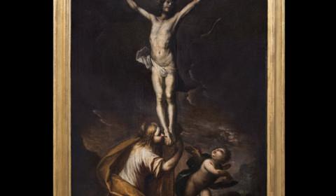 Crocifissione Cerano con Maddalena e putto con cornice